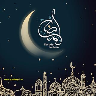 Ramadan Mubarak Greetings moon mosque golden stars calligraphy
