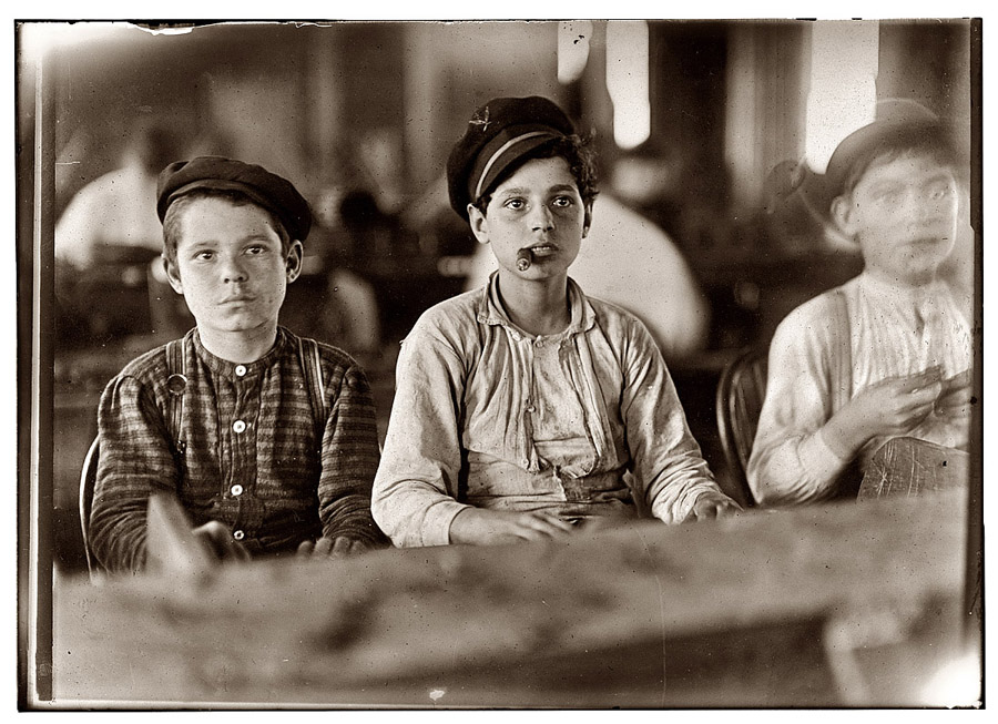 Young cigar rollers. Photo by Lewis Hine