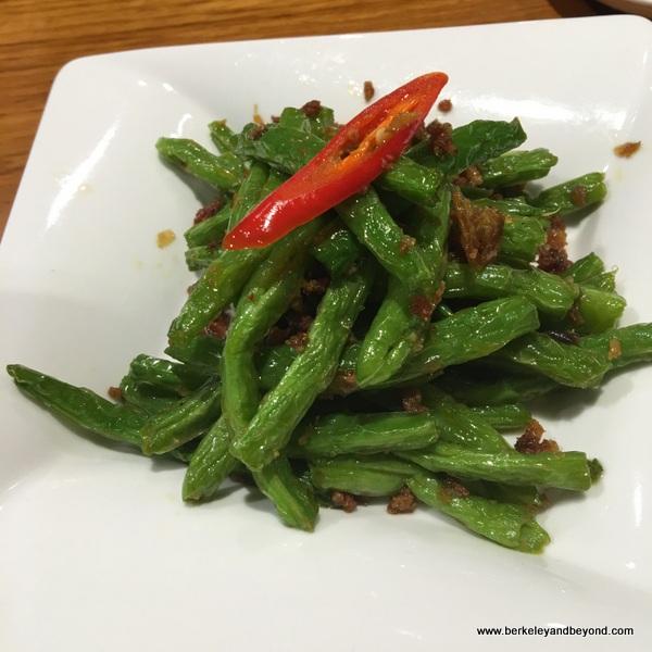 green beans at Din Tai Fung dim sum parlor in Taipei, Taiwan