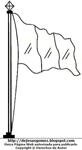 Dibujo a la bandera peruana para pintar imprimir. Imagen de la bandera de Jesus Gómez