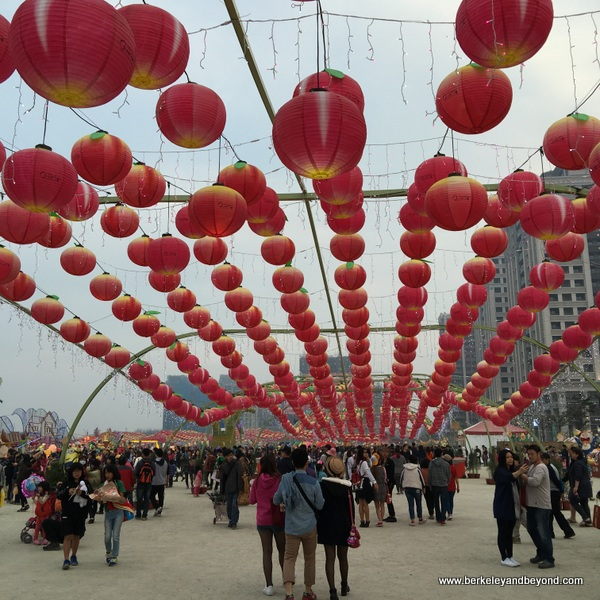 under the lantern corridor at Taiwan Lantern Festival 2016--day
