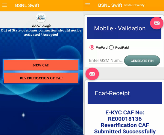 Link your Aadhar Number with existing BSNL Mobile Number to avoid disconnection, BSNL started re-verification of mobile connections using e-KYC