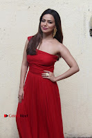 Actress Sana Khan Latest Pos in Georgius Spicy Red Long Dress at the Interview  0006.jpg