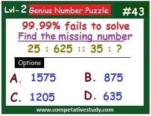 Math Puzzle: Find the missing number: 25 : 625 :: 35 : ?