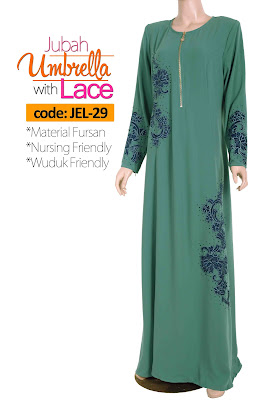 Jubah Umbrella Lace JEL-29 Sea Green Depan 9