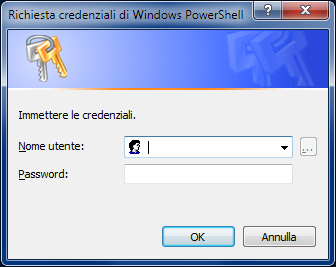 Richiesta credenziali di Windows PowerShell