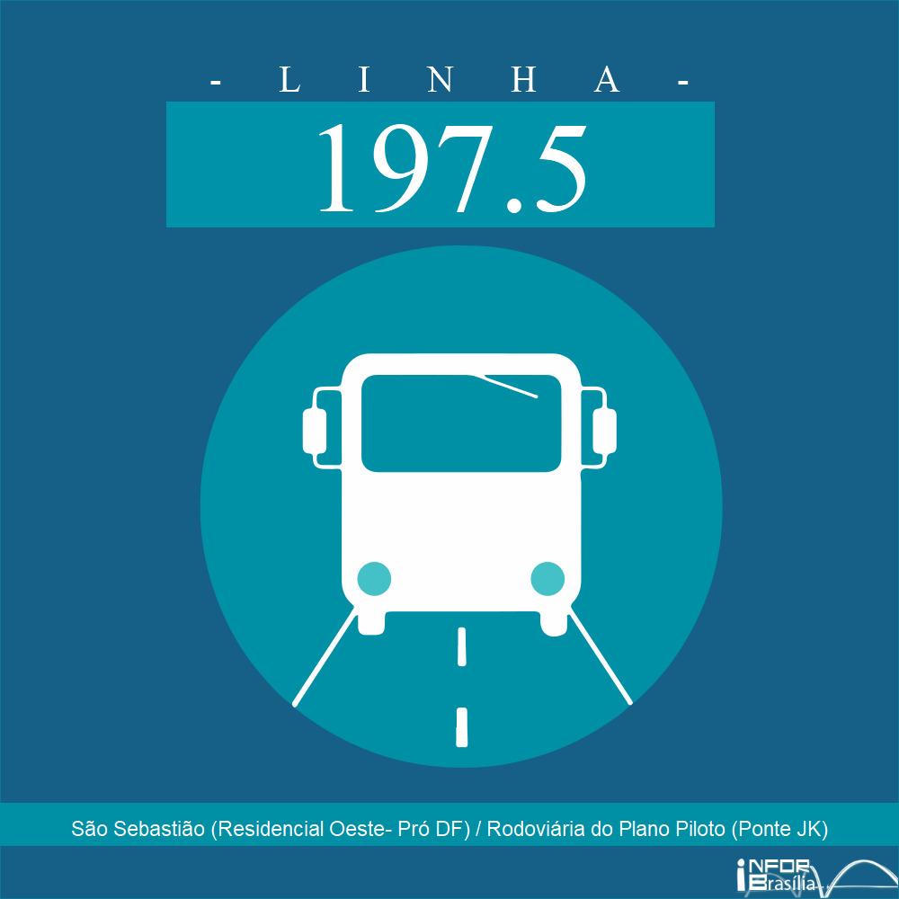 Horário de ônibus e itinerário 197.5 - São Sebastião (Residencial Oeste- Pró DF) / Rodoviária do Plano Piloto (Ponte JK)