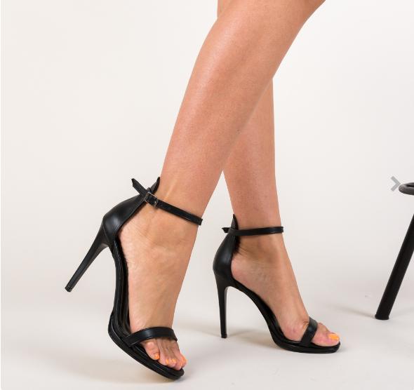 Sandale negre de zi cu toc subtire elegante de zi