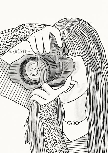 Custom Portait, Selfie, Zeichnung, Illustration, Frau mit Kamera