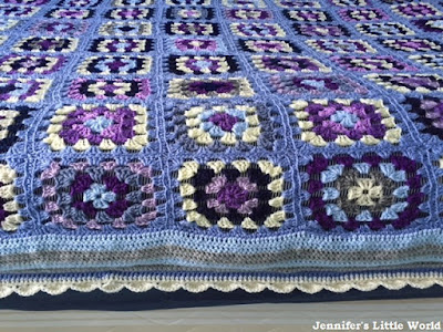 Blue and purple granny square crochet blanket