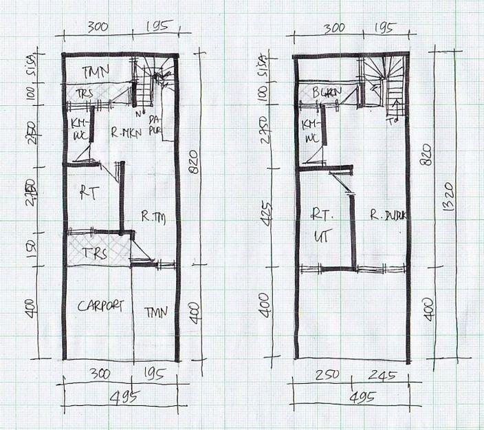 denah rumah lebar 4 meter menarik
