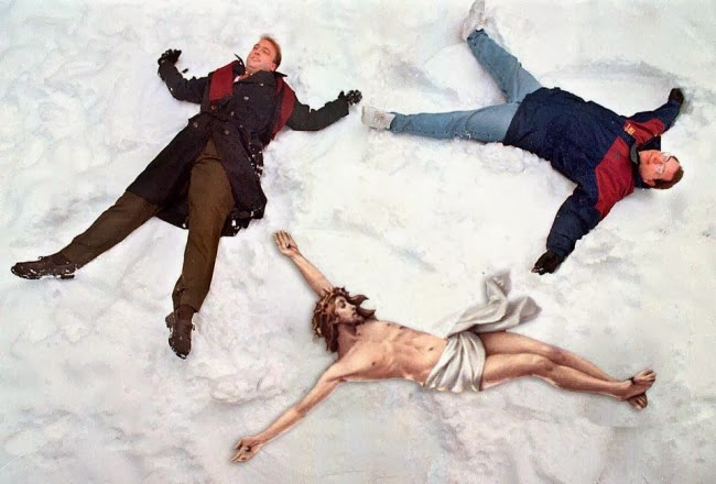 Funny Crucified Jesus Poses - Snow Angels