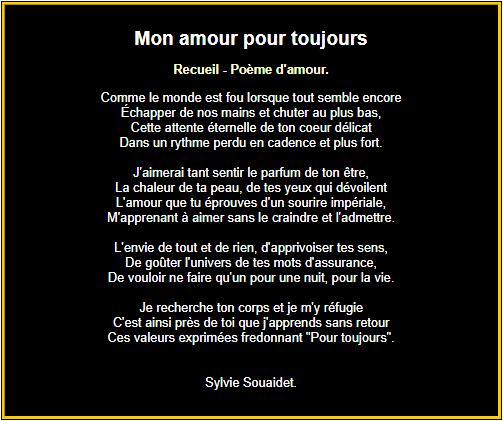 Poème pour mon amour, pour toujours !