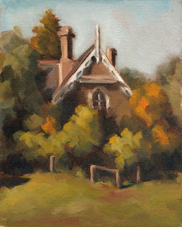 Oil painting of a Victorian-era Gothic-style house surrounded by trees.