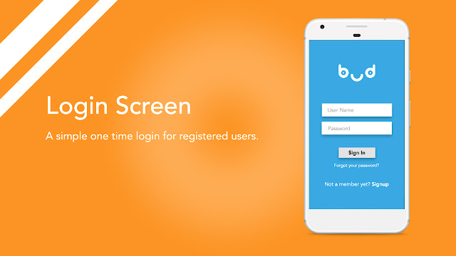 Android app UI and UX : bud Login
