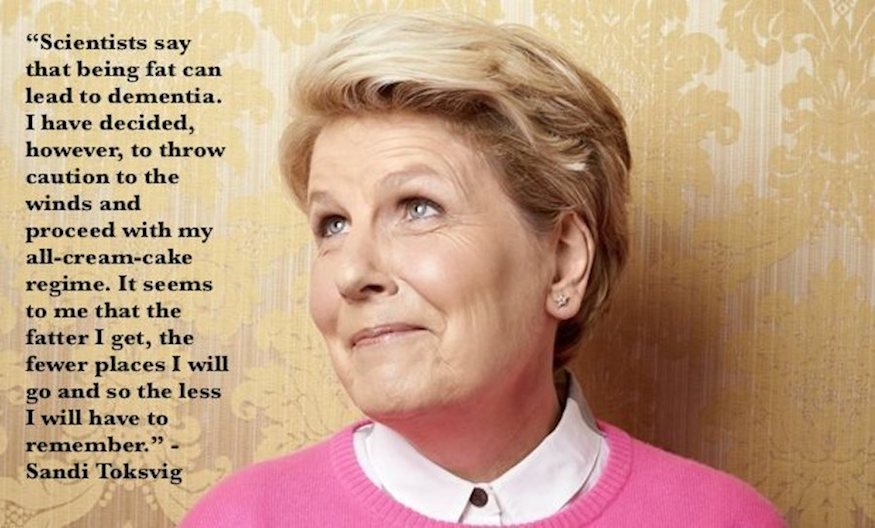 Sandi Toksvig quote on fat and dementia