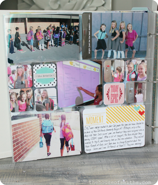 First Day of School Photo idea - project life album - thehouseofsmiths.com