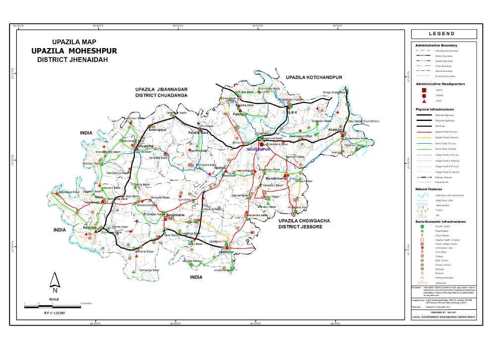 Moheshpur Upazila Map Jhenaidah District Bangladesh