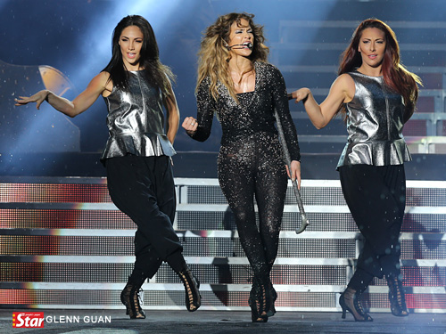 Perfectly choreographed moves from Jennifer Lopez during her Dance Again World Tour Malaysia 2012