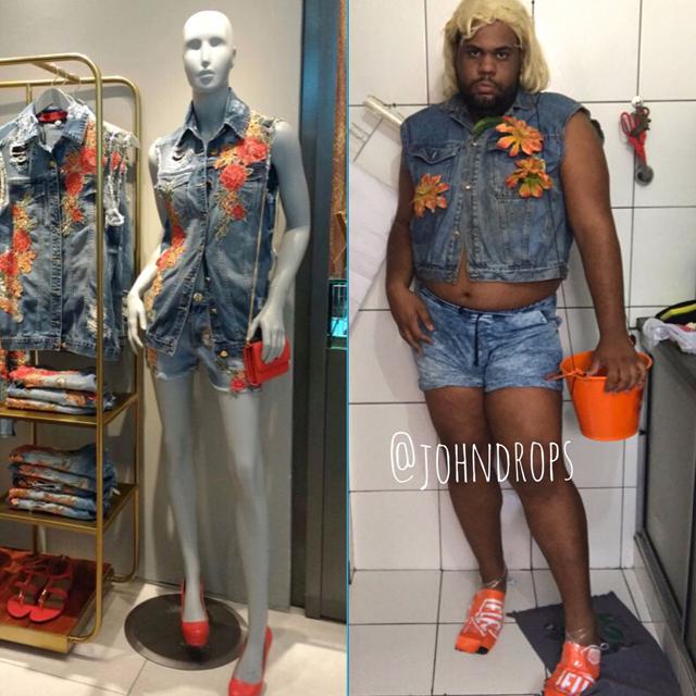 John Drops leva irreverência à liquidação do Salvador Shopping