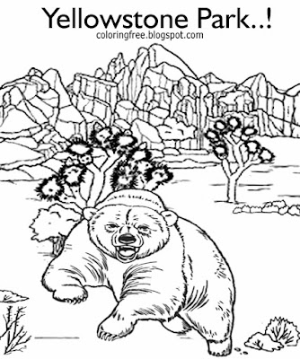 Printable natural world pictures national park Yellowstone grizzly bear coloring pages for children