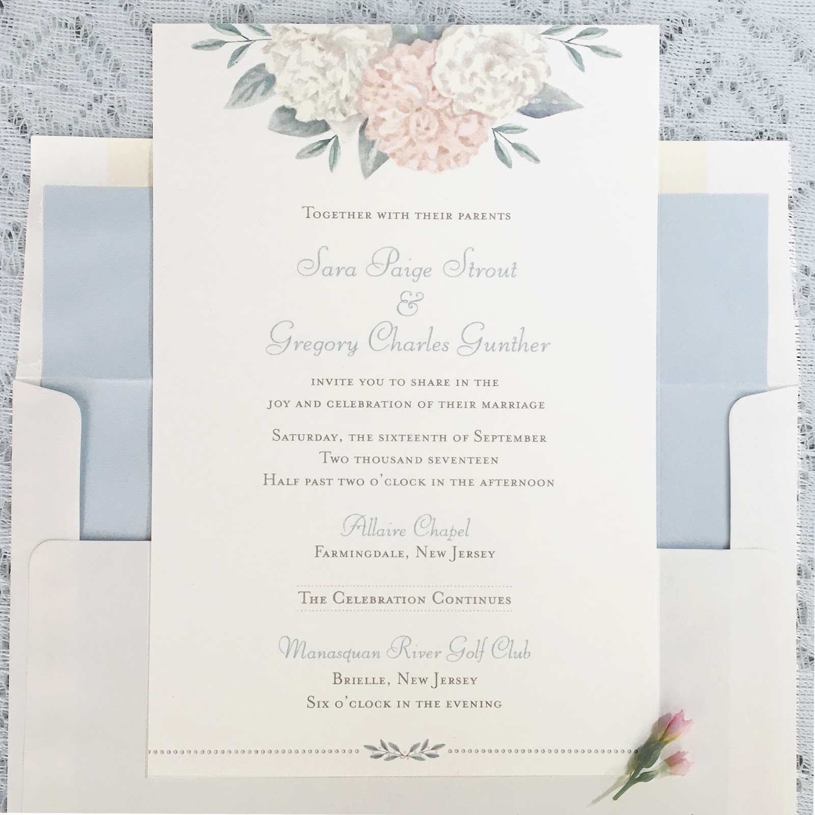 Invitations, Ink, Social Design Studio: Sara and Greg\'s Pastel Palette