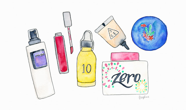 Korean beauty skincare illustration, Banila Co Clean It Zero, Power 10 Formula, Innisfree Creamy Tint Lip Mousse, Cosrx AHA/BHA toner, 3CE Waterful Concealer, Innisfree Cushion Foundation