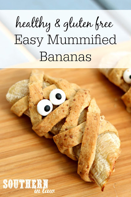 Easy Healthy Halloween Treats - Mummified Bananas - Gluten Free, Refined Sugar Free, Clean Eating Recipe, Nut Free, Egg Free, Allergy Friendly Halloween Recipe