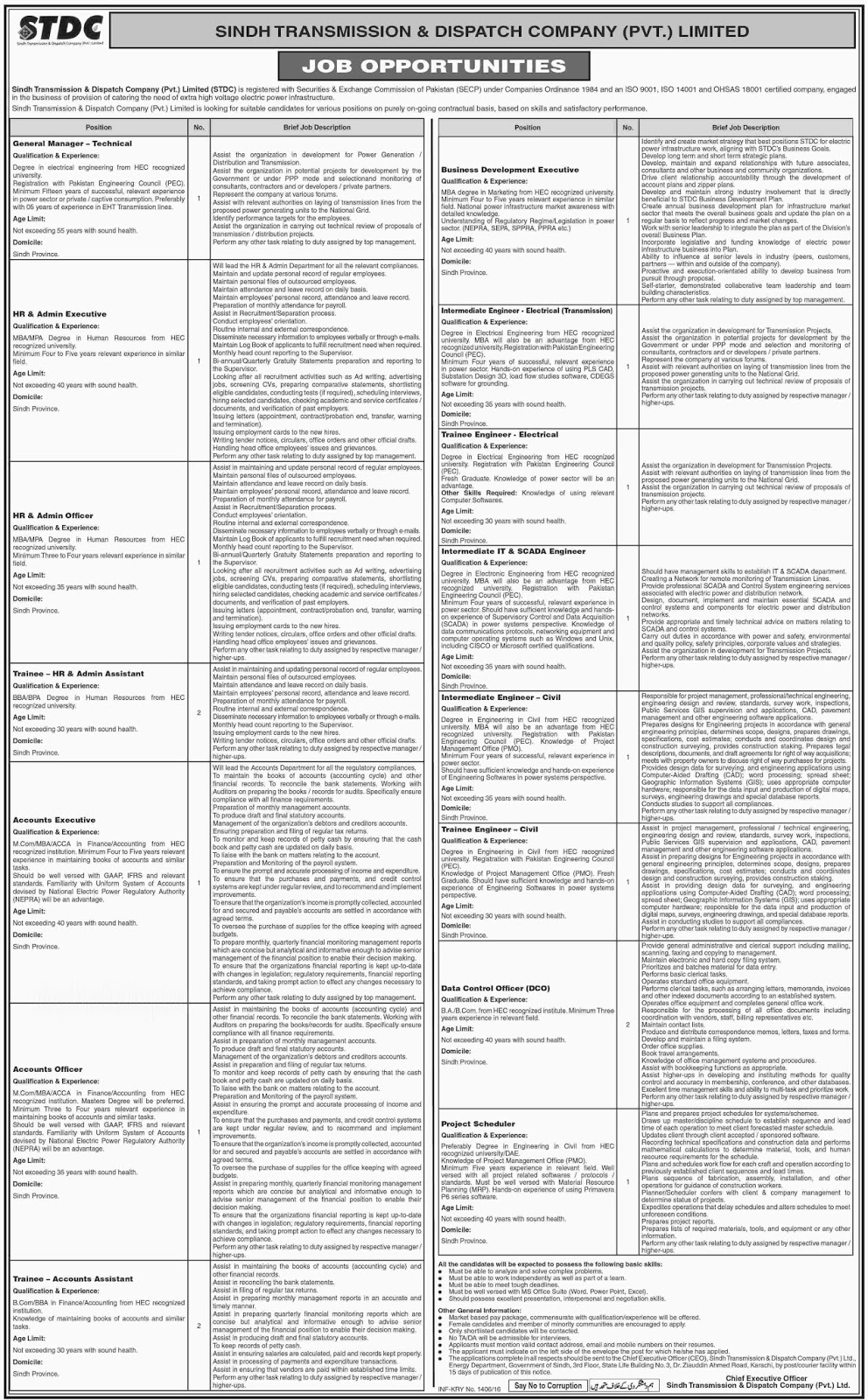 Sindh Transmission & Dispatch Company Jobs 2016