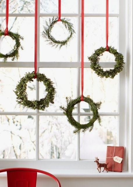 A collection of wreaths is a simple and visually appealing way to add festive cheer and wow factor in the kitchen.