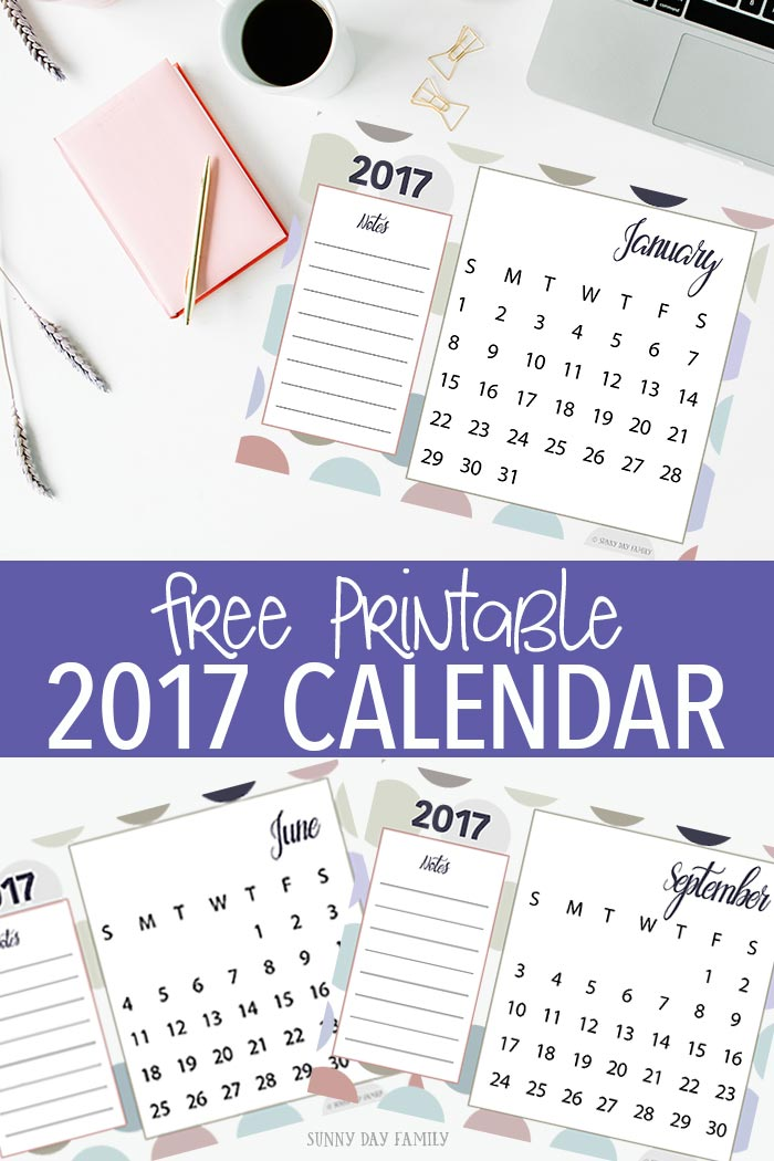 Get organized and ready for 2017 with this free printable calendar. See each month at a glance and keep important notes handy. Love this style - perfect for any decor!