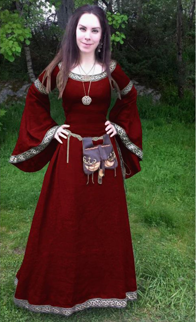 2018 popular style round collar horn sleeve and waist stitching Medieval large size ladies dress