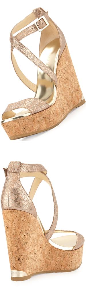 Jimmy Choo Portia Metallic Crisscross Wedge Sandal, Nude