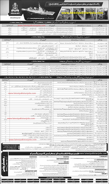 Pakistan Navy Latest Jobs As Civilian 2019-B Almost 1500 Plus Jobs