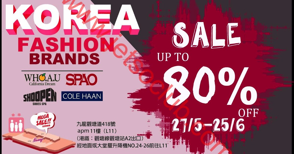 SPAO /SHOOPEN / WHO.A.U / COLE HAAN:期間限定 Outlet Sale 低至2折(27/5-25/6) ( Jetso Club 著數俱樂部 )