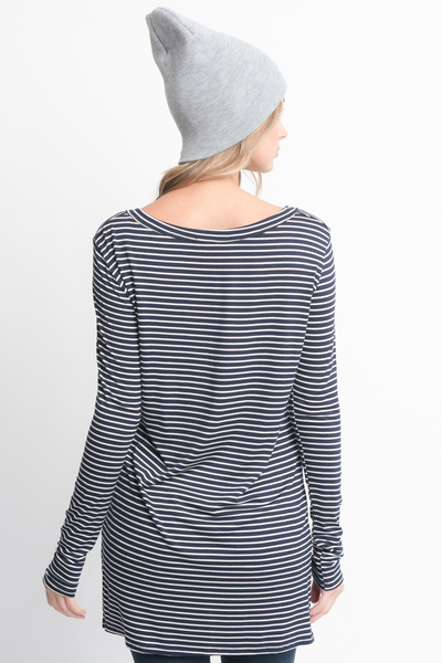 Shop for Navy Striped Long Sleeve Hi Lo Button Down Tunic Online on Caralase.com