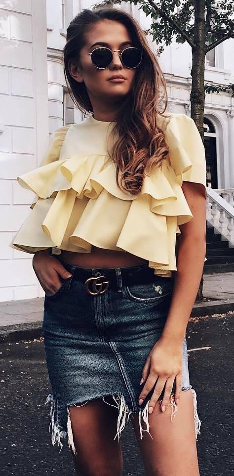 ootd: top + denim skirt