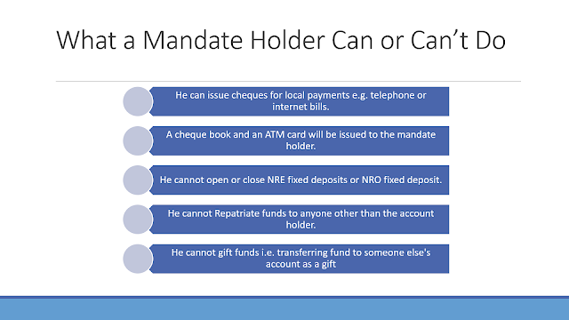 What mandate holder can do on behalf of NRI account holder