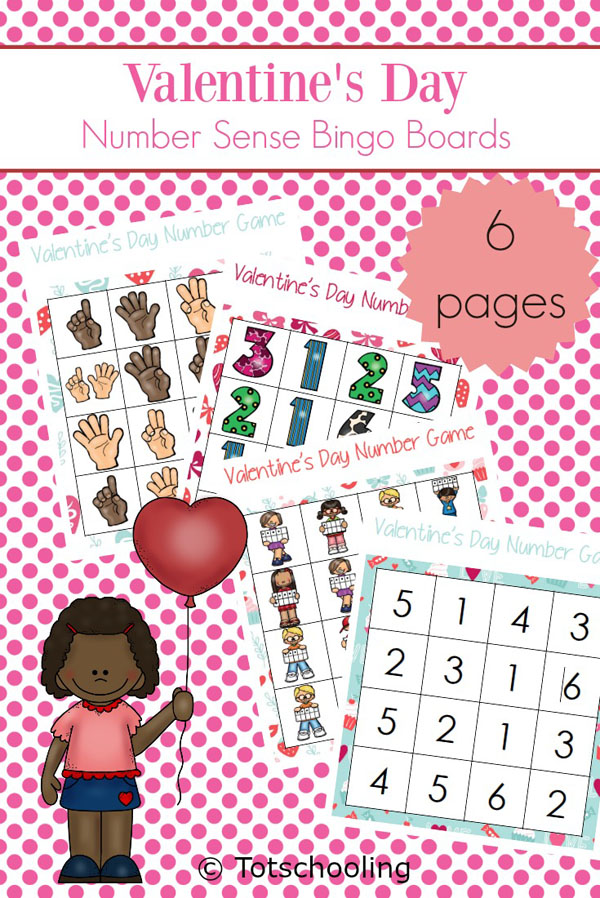 FREE printable Valentine's Day math games for preschoolers to practice number sense. 6 different roll & cover Bingo games that are no-prep and fun!
