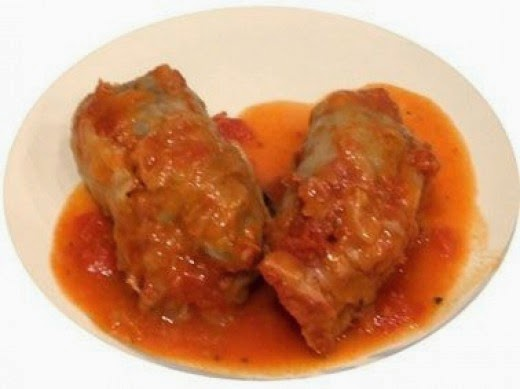 Hungarian stuffed cabbage rolls on a plate