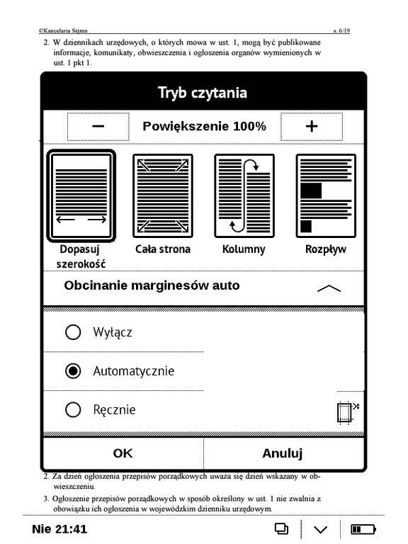 PocketBook Basic Touch 2 Save & Safe – ustawienia przycinania marginesów