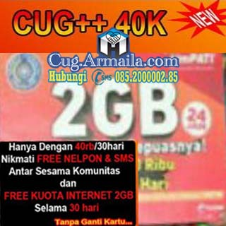 CUG Data 2GB 40 Ribu Unlimited SMS Nelpon Armaila