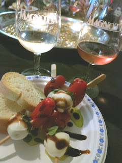 Caprese Salad paired with Magnotta Pinot Noir Rosé and Pinot Gris