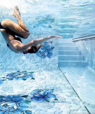3D flooring with epoxy coating for pools