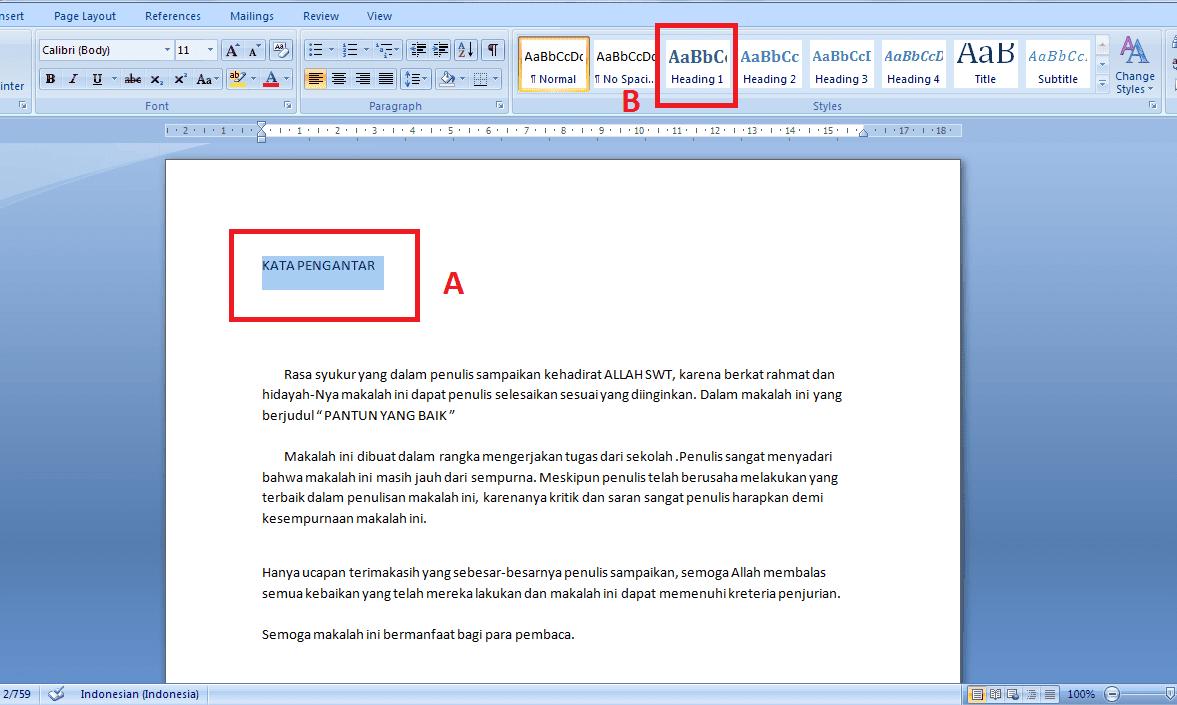 Cara Cepat Membuat Daftar Isi Otomatis Microsoft Word 2007