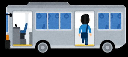 バスに乗る人のイラスト(男性・後ろのドア)