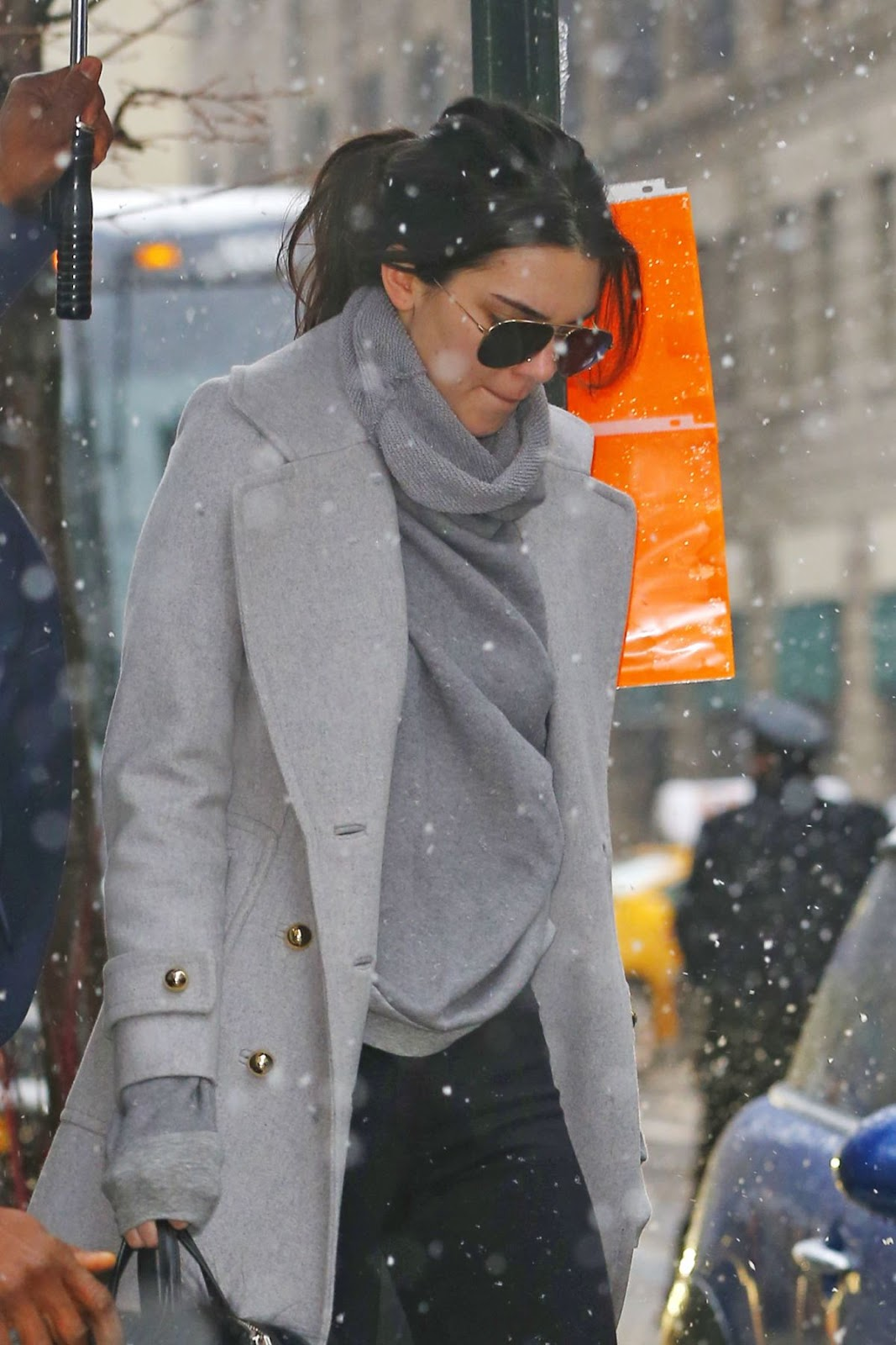 Kendall Jenner out in Snowfall in Manhattan