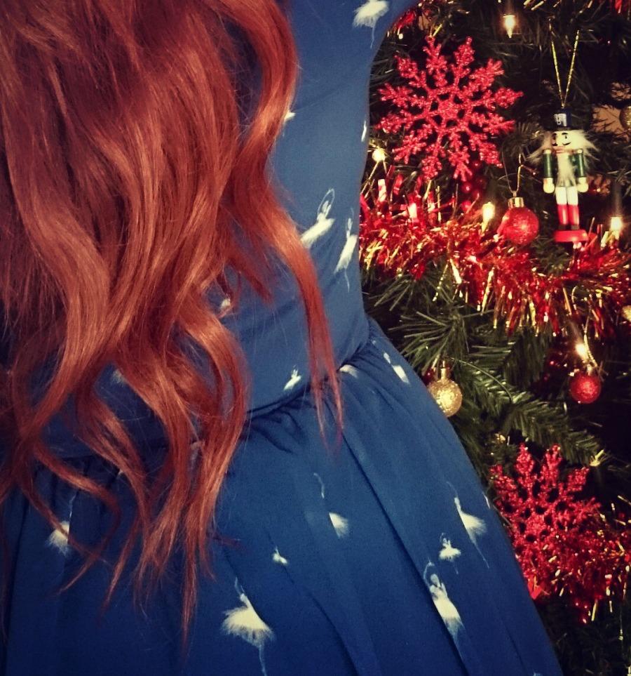 The magic of Christmas, Red hair, Ballerina, Festive Prints with I Love Carousel, Irish Fashion, style blog