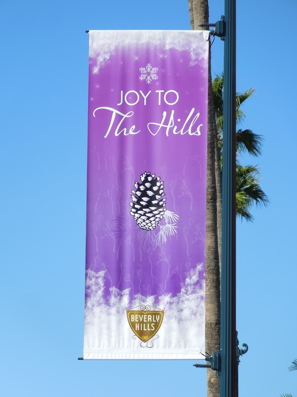 Joy to The Hills fir cone Christmas banner