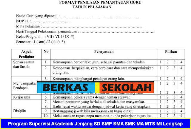 Program Supervisi Akademik Jenjang SD SMP SMA SMK MA MTS MI Lengkap